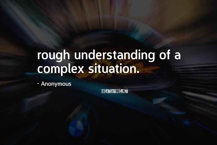 Anonymous Sayings: rough understanding of a complex situation.