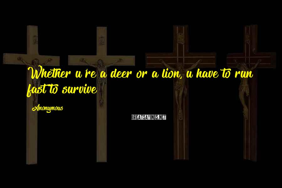 Anonymous Sayings: Whether u're a deer or a lion, u have to run fast to survive