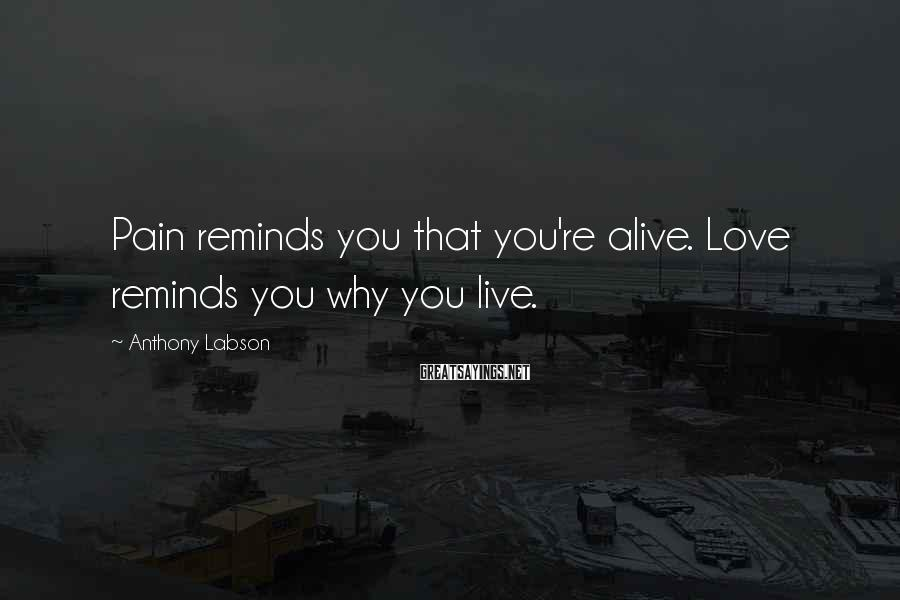 Anthony Labson Sayings: Pain reminds you that you're alive. Love reminds you why you live.