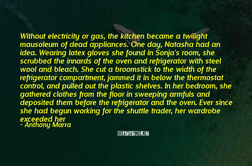 Anthony Marra Sayings: Without electricity or gas, the kitchen became a twilight mausoleum of dead appliances. One day,