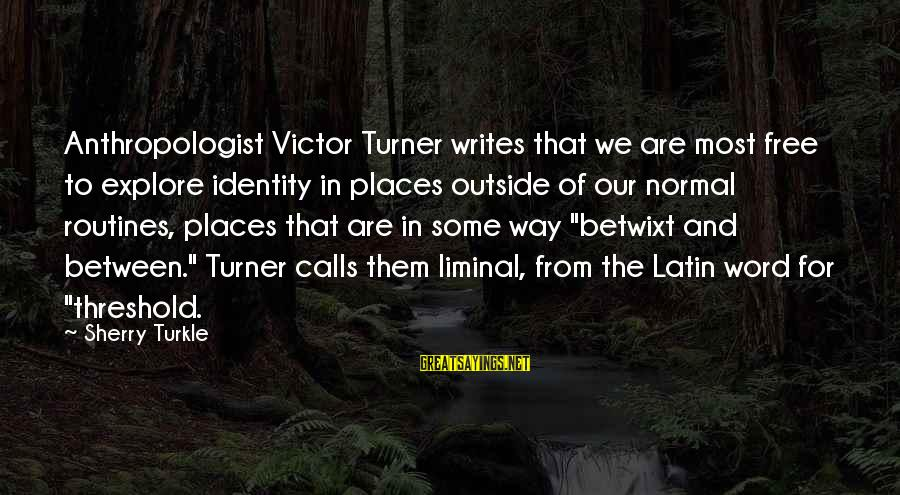 Anthropologist Sayings By Sherry Turkle: Anthropologist Victor Turner writes that we are most free to explore identity in places outside