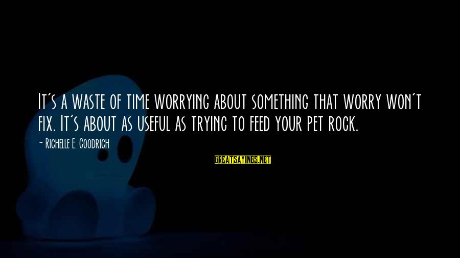 Anxiousness Sayings By Richelle E. Goodrich: It's a waste of time worrying about something that worry won't fix. It's about as