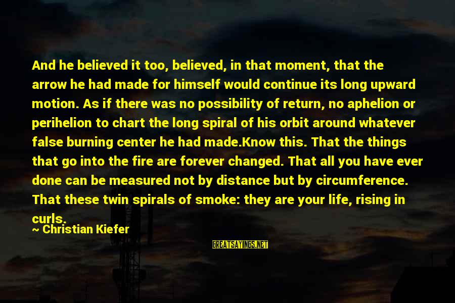Aphelion Sayings By Christian Kiefer: And he believed it too, believed, in that moment, that the arrow he had made