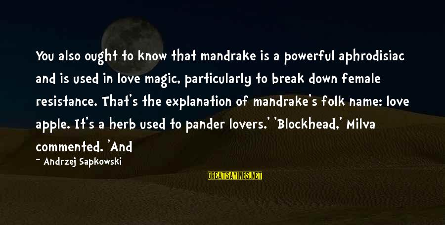 Apple Lovers Sayings By Andrzej Sapkowski: You also ought to know that mandrake is a powerful aphrodisiac and is used in