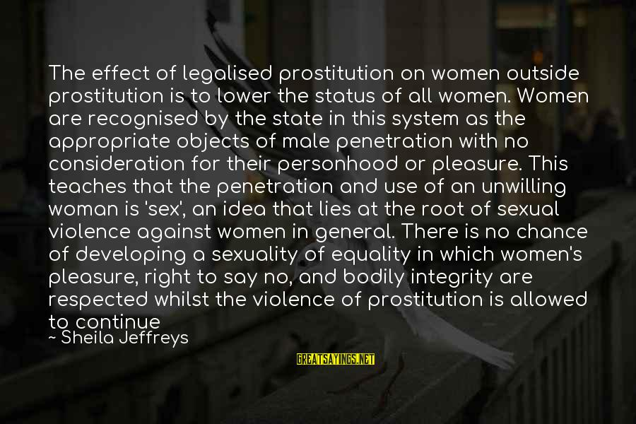 Appropriate Behaviour Sayings By Sheila Jeffreys: The effect of legalised prostitution on women outside prostitution is to lower the status of