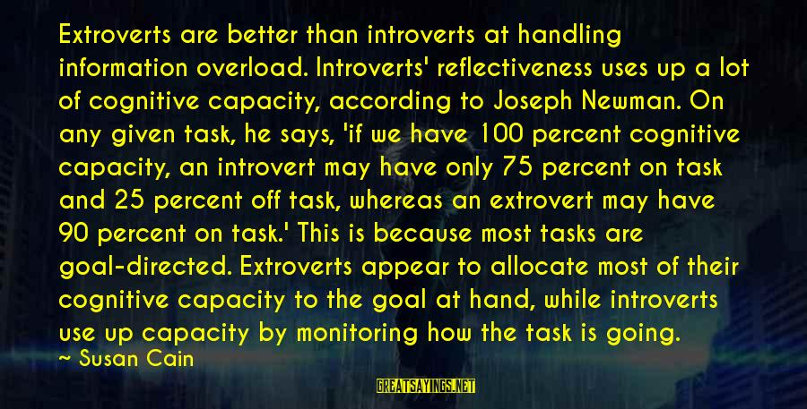 Archer Ant Sayings By Susan Cain: Extroverts are better than introverts at handling information overload. Introverts' reflectiveness uses up a lot