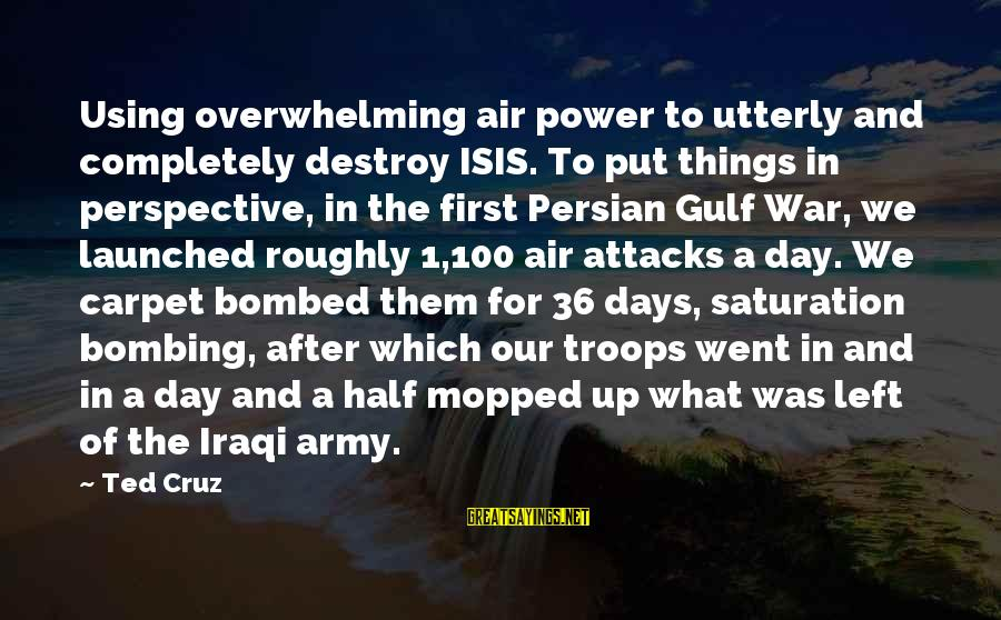 Are You Ok Day Sayings By Ted Cruz: Using overwhelming air power to utterly and completely destroy ISIS. To put things in perspective,