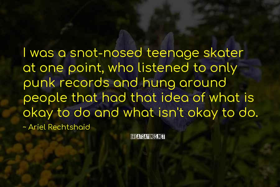 Ariel Rechtshaid Sayings: I was a snot-nosed teenage skater at one point, who listened to only punk records