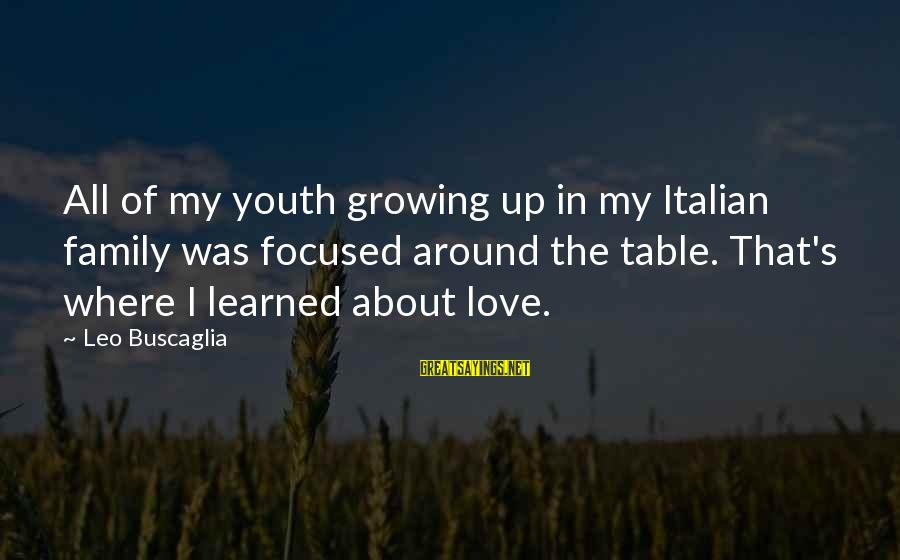 Around The Table Sayings By Leo Buscaglia: All of my youth growing up in my Italian family was focused around the table.