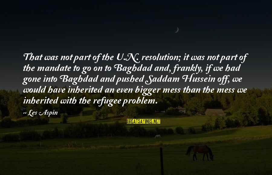 Aspin Sayings By Les Aspin: That was not part of the U.N. resolution; it was not part of the mandate