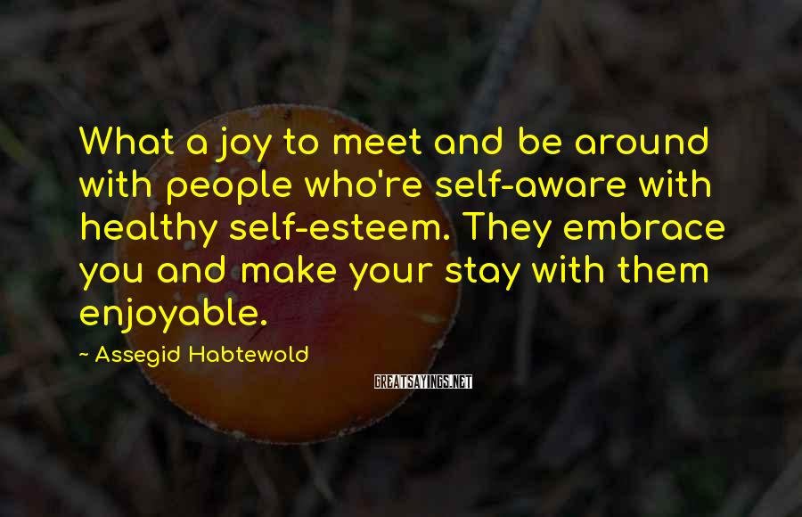 Assegid Habtewold Sayings: What a joy to meet and be around with people who're self-aware with healthy self-esteem.