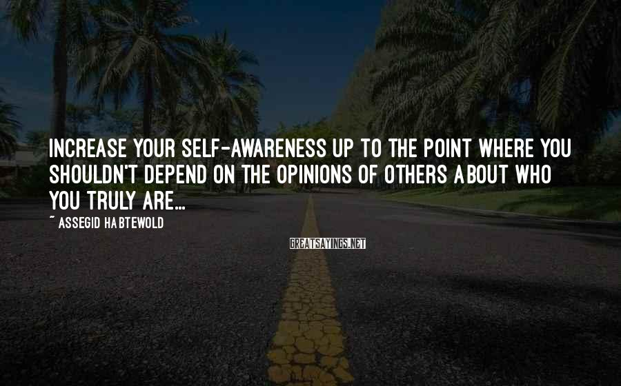 Assegid Habtewold Sayings: Increase your self-awareness up to the point where you shouldn't depend on the opinions of