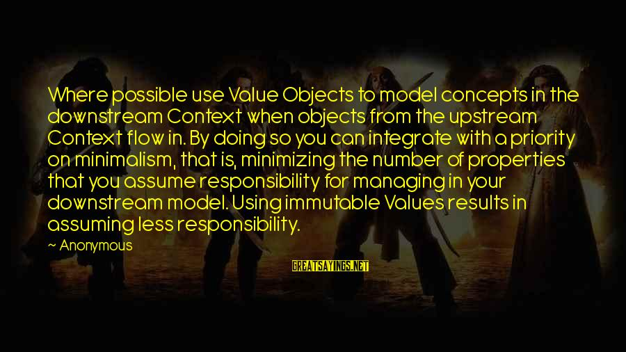 Assume Less Sayings By Anonymous: Where possible use Value Objects to model concepts in the downstream Context when objects from