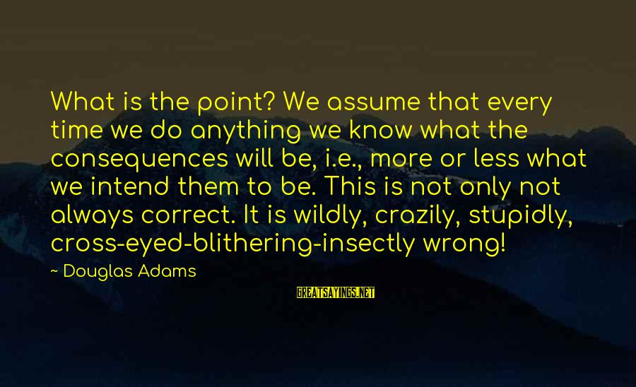 Assume Less Sayings By Douglas Adams: What is the point? We assume that every time we do anything we know what