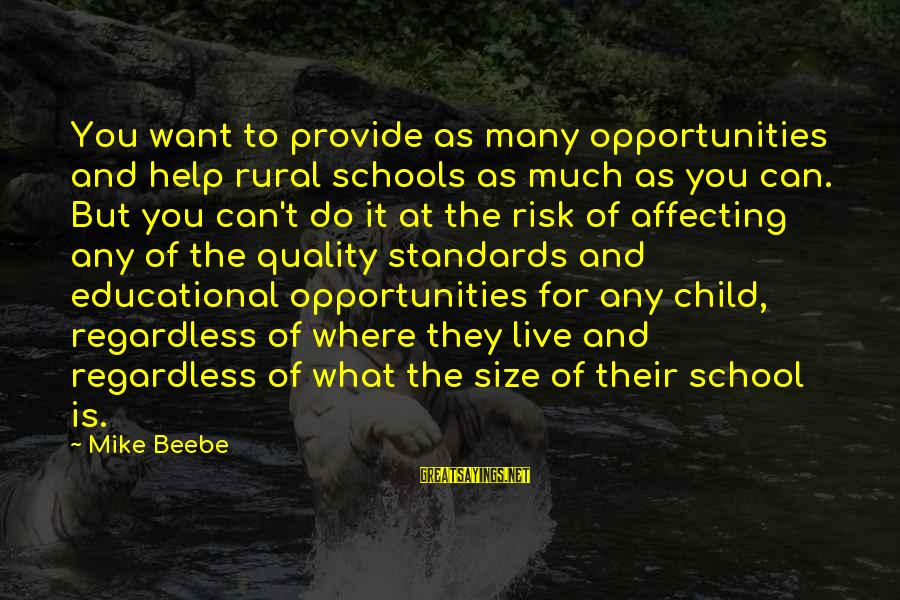 At Risk Sayings By Mike Beebe: You want to provide as many opportunities and help rural schools as much as you