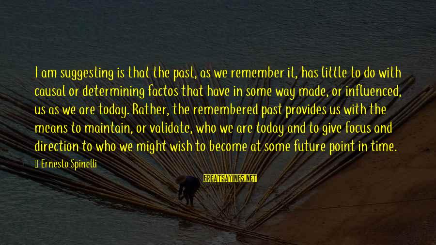 At Some Point In Time Sayings By Ernesto Spinelli: I am suggesting is that the past, as we remember it, has little to do