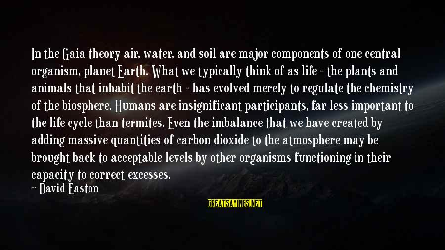 Atmosphere Sayings By David Easton: In the Gaia theory air, water, and soil are major components of one central organism,
