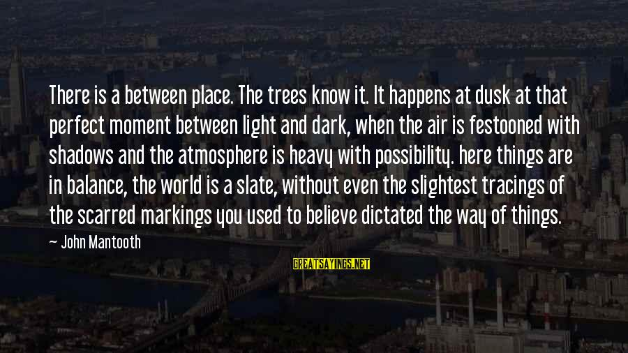 Atmosphere Sayings By John Mantooth: There is a between place. The trees know it. It happens at dusk at that