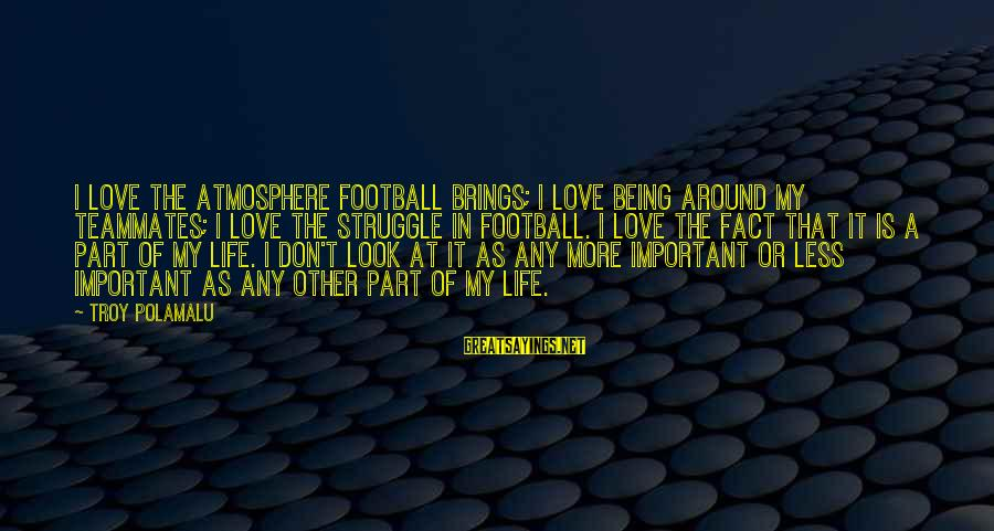 Atmosphere Sayings By Troy Polamalu: I love the atmosphere football brings; I love being around my teammates; I love the