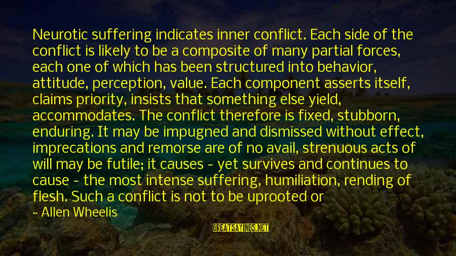 Attitude And Behavior Sayings By Allen Wheelis: Neurotic suffering indicates inner conflict. Each side of the conflict is likely to be a