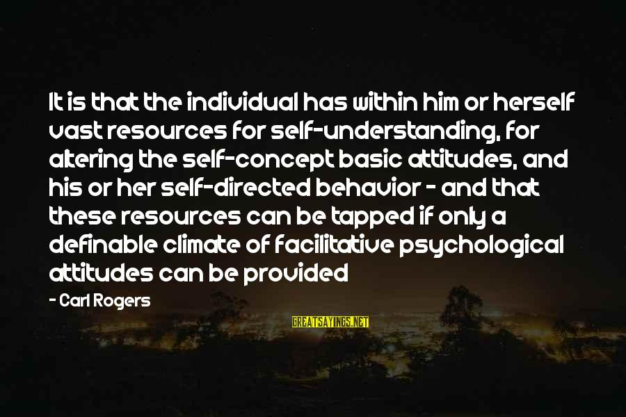 Attitude And Behavior Sayings By Carl Rogers: It is that the individual has within him or herself vast resources for self-understanding, for
