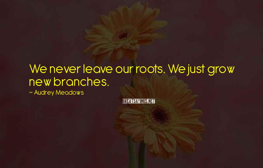 Audrey Meadows Sayings: We never leave our roots. We just grow new branches.