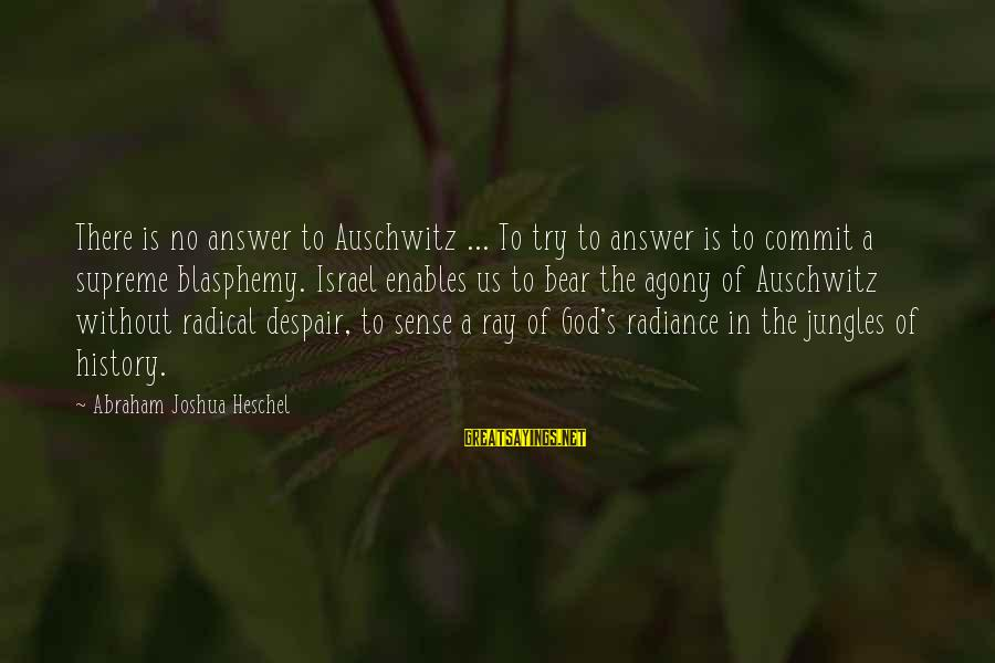Auschwitz's Sayings By Abraham Joshua Heschel: There is no answer to Auschwitz ... To try to answer is to commit a