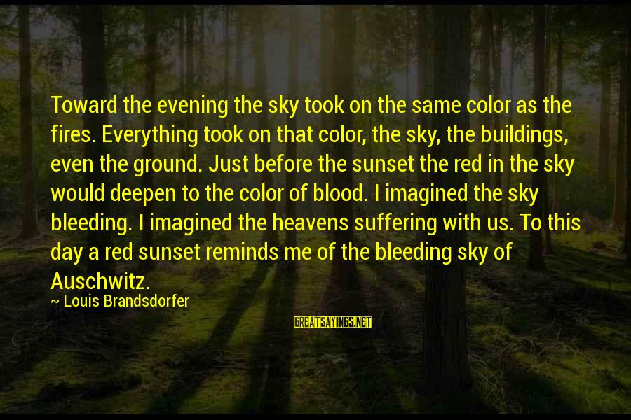 Auschwitz's Sayings By Louis Brandsdorfer: Toward the evening the sky took on the same color as the fires. Everything took