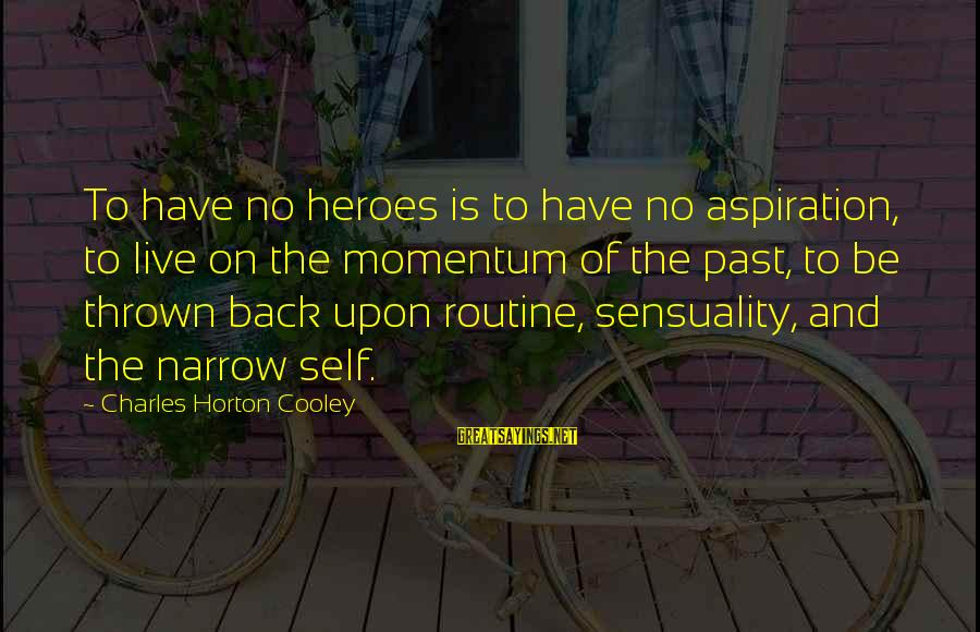Back To Routine Sayings By Charles Horton Cooley: To have no heroes is to have no aspiration, to live on the momentum of