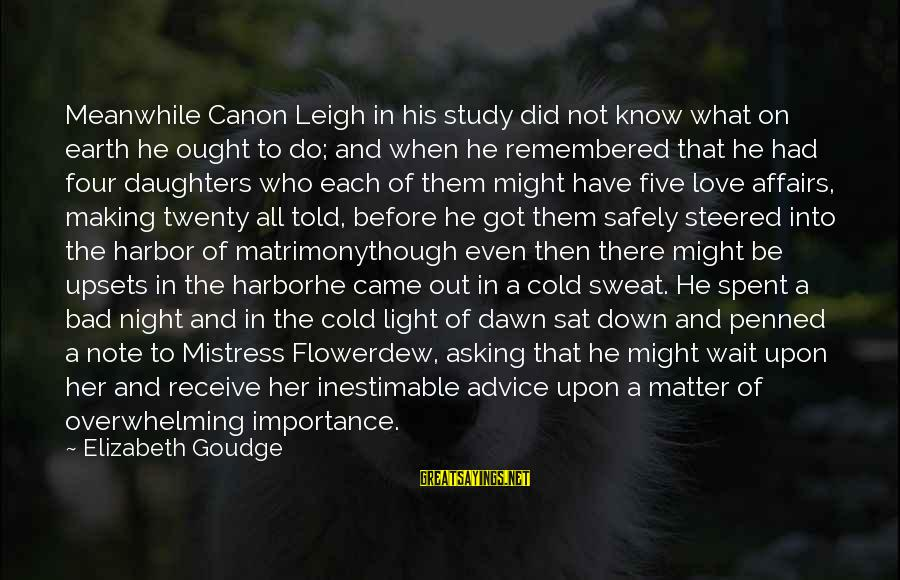 Bad Advice Sayings By Elizabeth Goudge: Meanwhile Canon Leigh in his study did not know what on earth he ought to