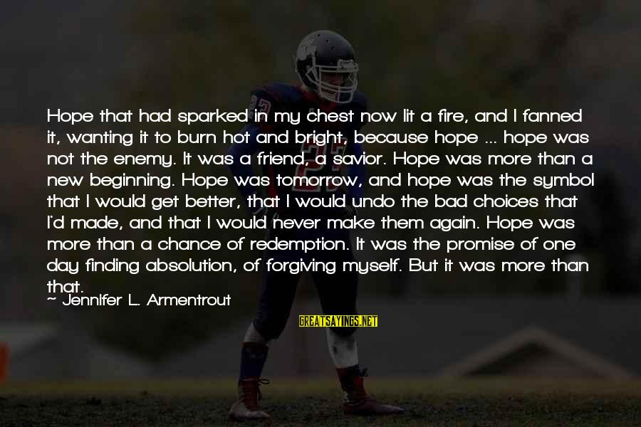 Bad Times Inspirational Sayings By Jennifer L. Armentrout: Hope that had sparked in my chest now lit a fire, and I fanned it,