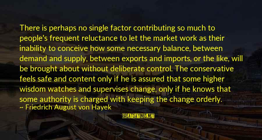 Balance And Change Sayings By Friedrich August Von Hayek: There is perhaps no single factor contributing so much to people's frequent reluctance to let