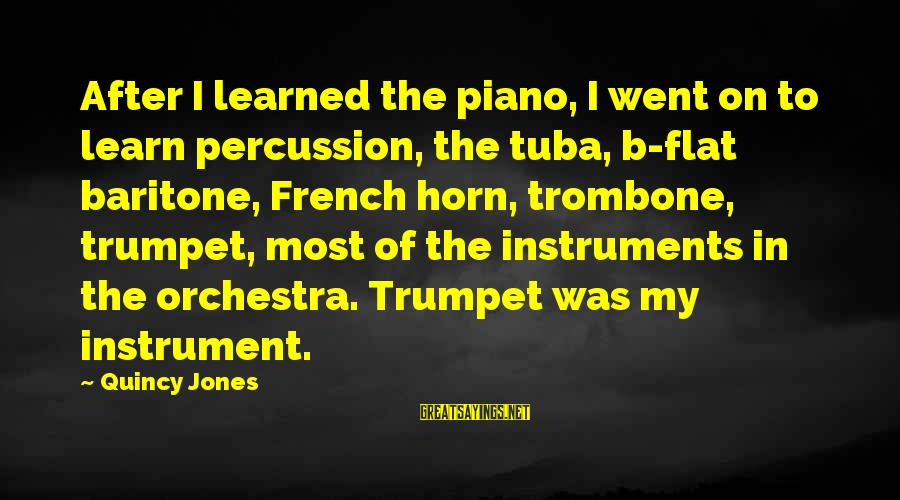 Baritone Sayings By Quincy Jones: After I learned the piano, I went on to learn percussion, the tuba, b-flat baritone,