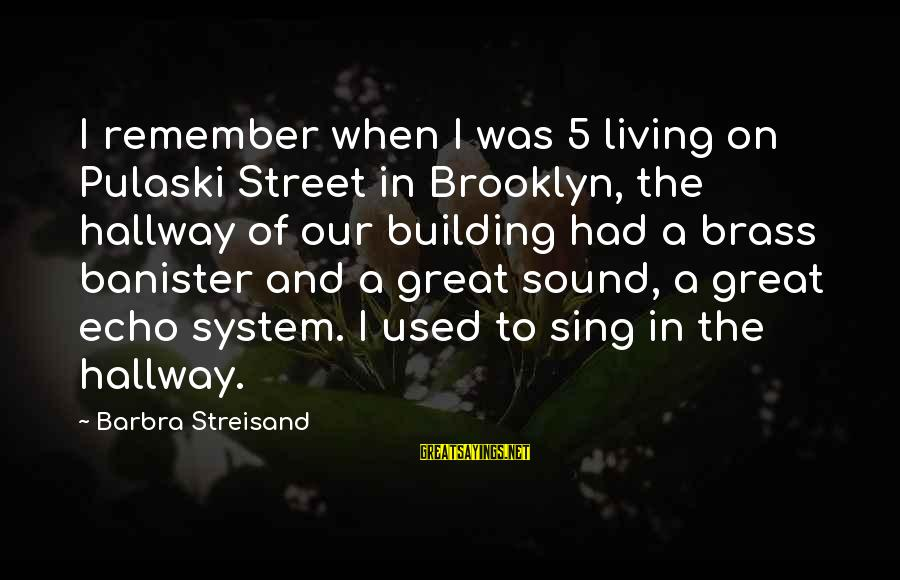 Barry Allen And Felicity Smoak Sayings By Barbra Streisand: I remember when I was 5 living on Pulaski Street in Brooklyn, the hallway of