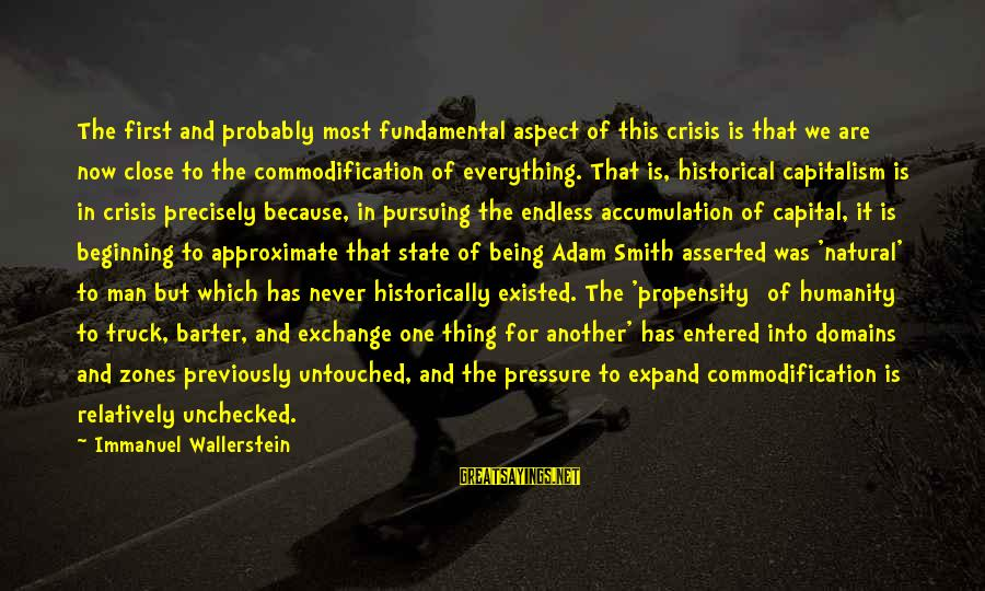 Barter Sayings By Immanuel Wallerstein: The first and probably most fundamental aspect of this crisis is that we are now