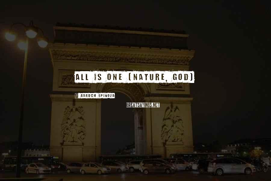 Baruch Spinoza Sayings: All is One (Nature, God)
