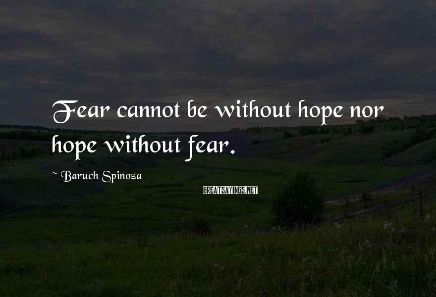 Baruch Spinoza Sayings: Fear cannot be without hope nor hope without fear.