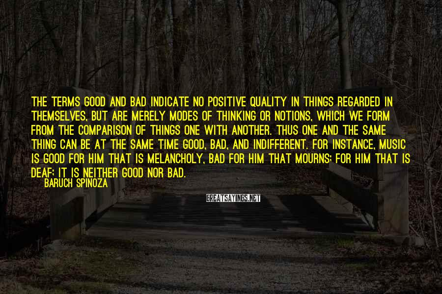 Baruch Spinoza Sayings: The terms good and bad indicate no positive quality in things regarded in themselves, but