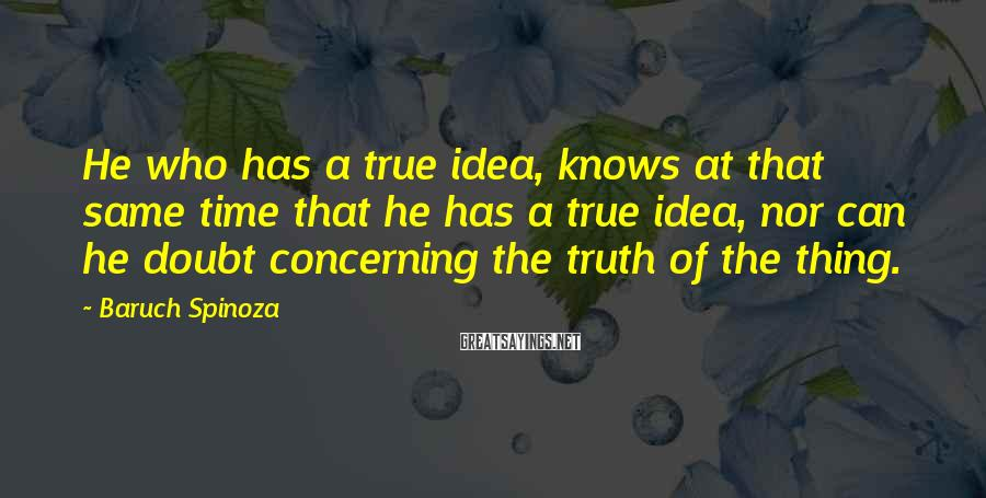 Baruch Spinoza Sayings: He who has a true idea, knows at that same time that he has a