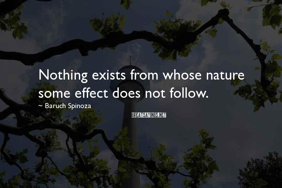 Baruch Spinoza Sayings: Nothing exists from whose nature some effect does not follow.
