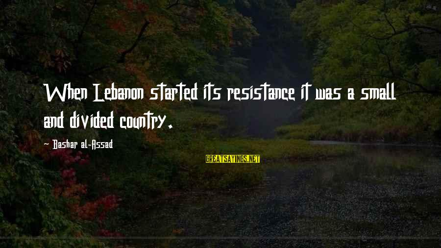 Bashar Sayings By Bashar Al-Assad: When Lebanon started its resistance it was a small and divided country.