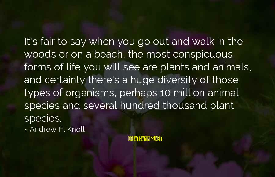 Beach's Sayings By Andrew H. Knoll: It's fair to say when you go out and walk in the woods or on