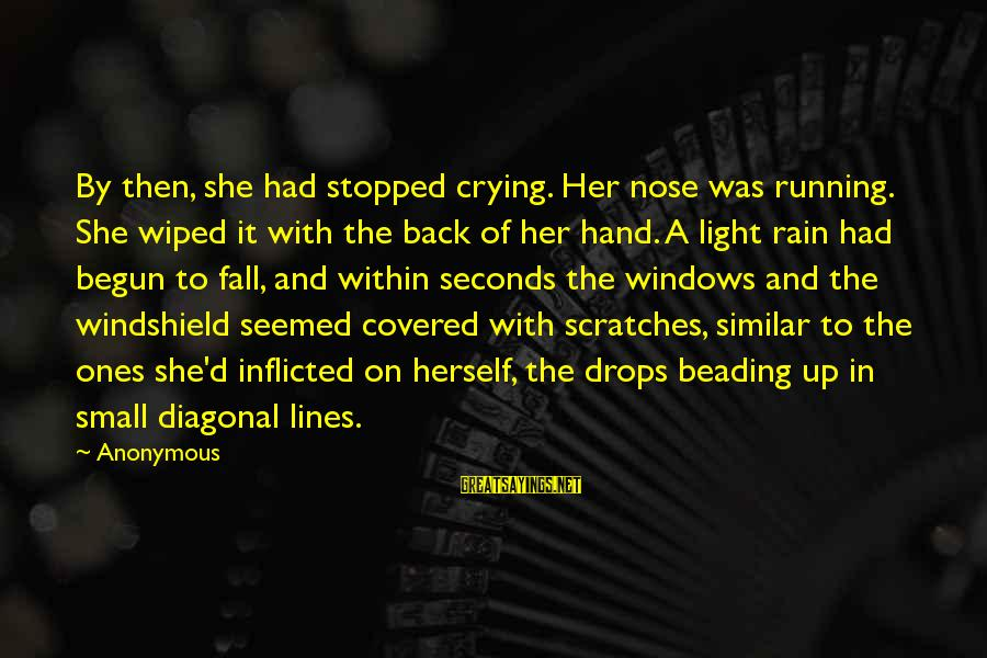Beading Sayings By Anonymous: By then, she had stopped crying. Her nose was running. She wiped it with the