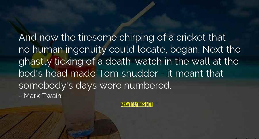 Beautiful Newborn Baby Sayings By Mark Twain: And now the tiresome chirping of a cricket that no human ingenuity could locate, began.
