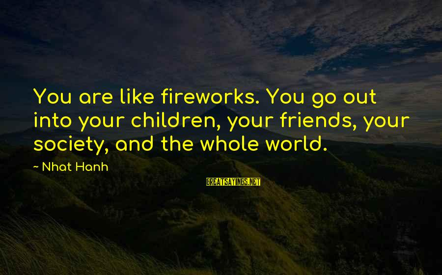 Beautiful Newborn Baby Sayings By Nhat Hanh: You are like fireworks. You go out into your children, your friends, your society, and