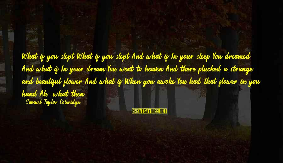 Beautiful You Sayings By Samuel Taylor Coleridge: What if you slept?What if you slept And what if In your sleep You dreamed