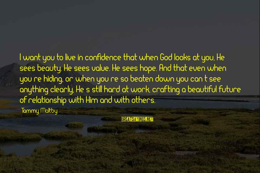 Beautiful You Sayings By Tammy Maltby: I want you to live in confidence that when God looks at you, He sees