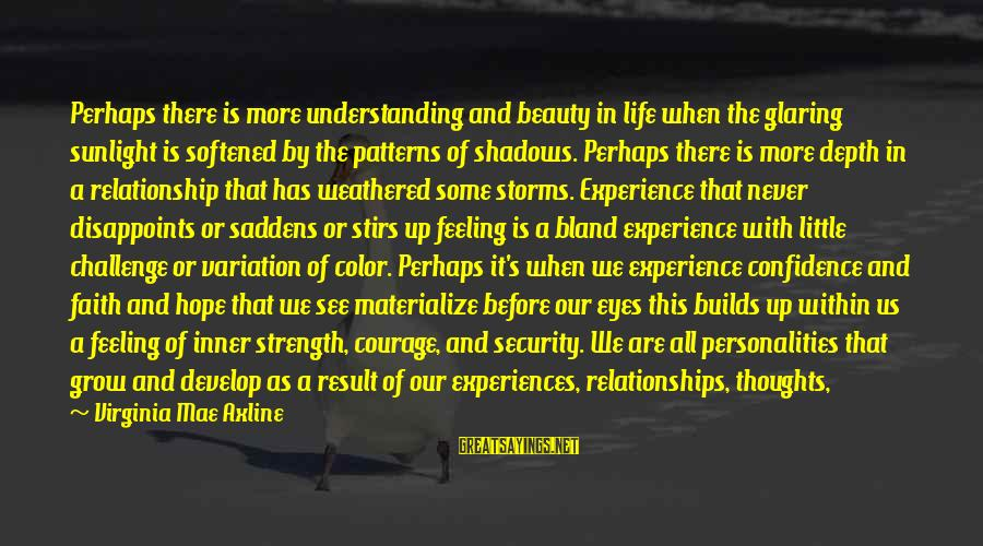 Beauty In Confidence Sayings By Virginia Mae Axline: Perhaps there is more understanding and beauty in life when the glaring sunlight is softened