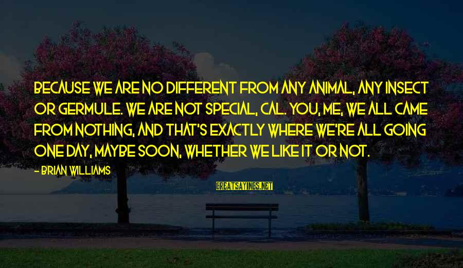Because You're Special Sayings By Brian Williams: Because we are no different from any animal, any insect or germule. We are not