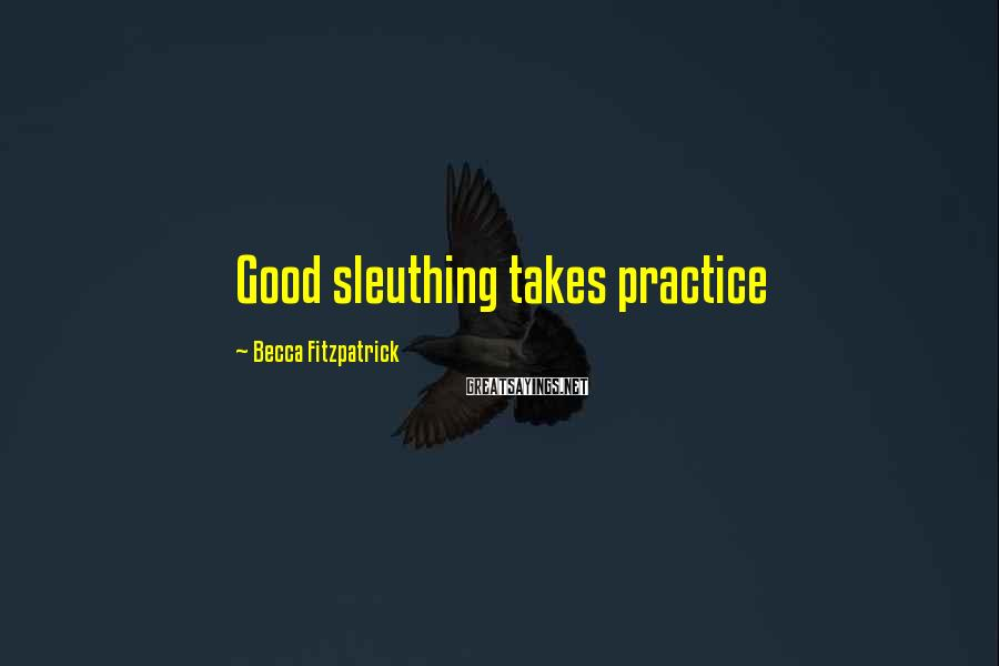 Becca Fitzpatrick Sayings: Good sleuthing takes practice